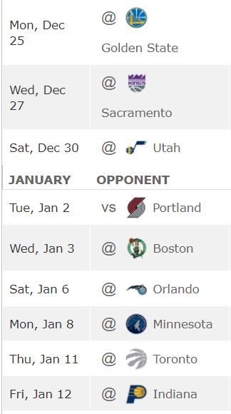 Calendrier Cavaliers