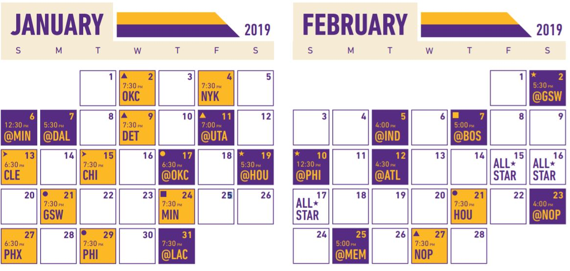 Calendrier Lakers