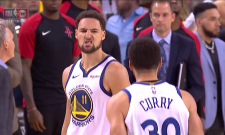 """Golden State Warriors Steph Curry Kevin Durant 2018 /""""Le Sweep/"""" T-Shirt"""