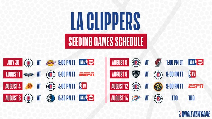 Calendrier Clippers 28 juin 2020