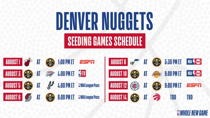 Calendrier Nuggets 28 juin 2020