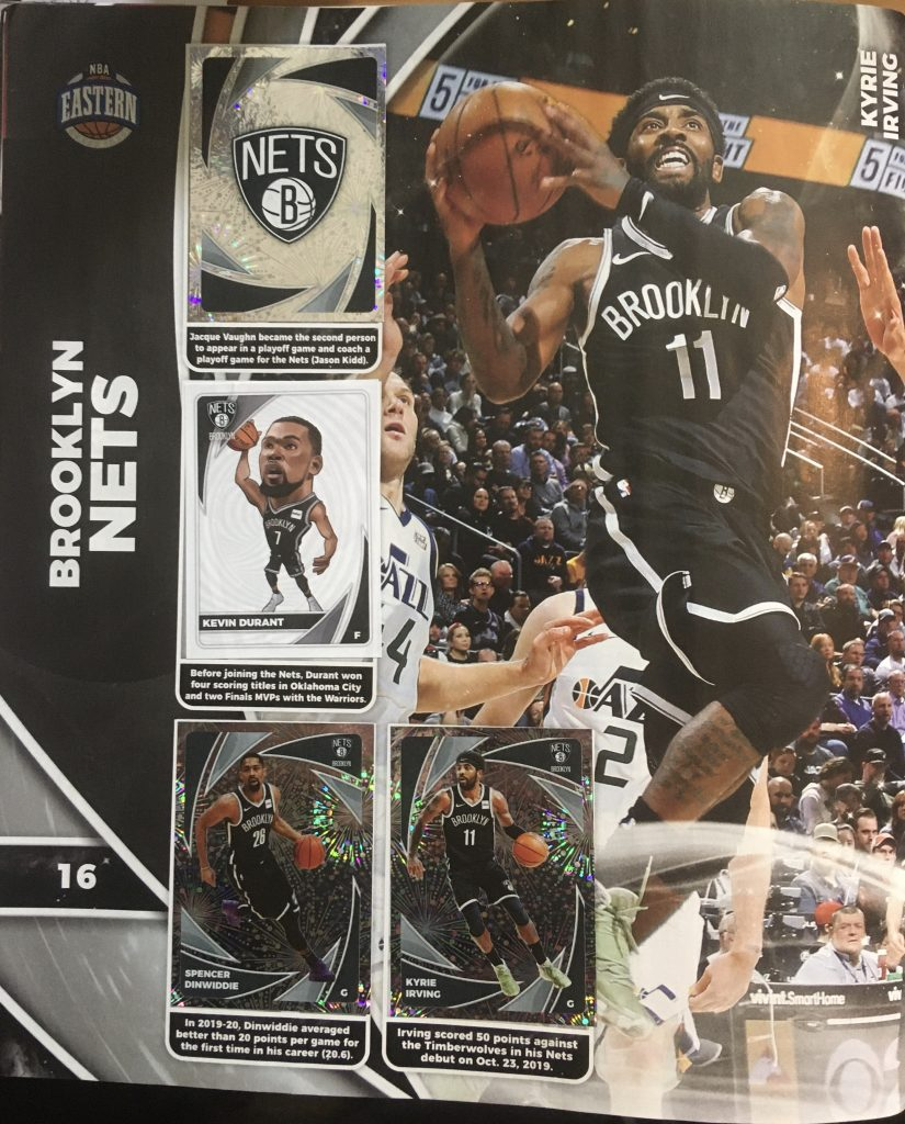 La page des Brooklyn Nets Panini NBA 2020-21 stickers et trading cards